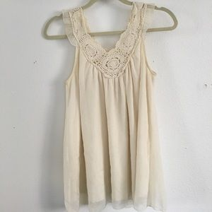 cream blouse with lace design